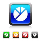 White Pie Graph icon — ストックベクタ