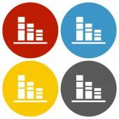 White Bar Graph icon — Stock Vector