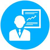 Presenter icon on a round button. — Stock Vector