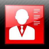 Businessman icon on a square button. — Stock Vector