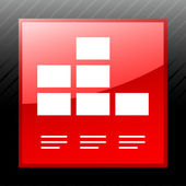 Bar Graph icon on a square button. — Stock Vector