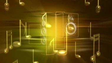 Music Notes Speakers 0093H — Stock Video