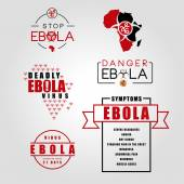 Labels of the deadly ebola virus — Stock Vector