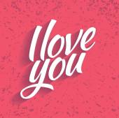 Lettering I love you on Valentine's Day — Vecteur