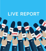 Reporter and news on the Internet multimedia web — Stock Vector