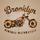 Vintage motorcycle painted with watercolors — Vector de stock