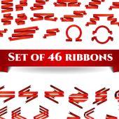 Satz von red ribbons — Stockvektor