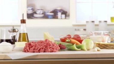 Lasagne ingredients on table — Stock Video
