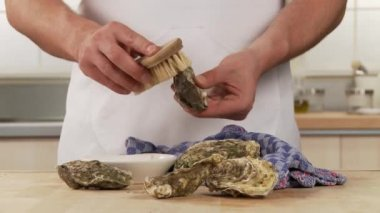 Oyster shells being cleaned — Stock Video