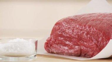 Veal shoulder and salt — Video Stock