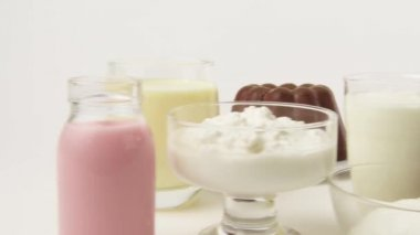 Assorted dairy products — Stock Video