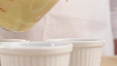 Creme caramel ramekins — Stock Video