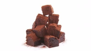 Brownies dusted with cocoa powder — Stock Video
