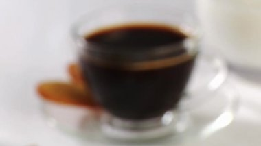Cup of coffee with biscuits — Stock Video