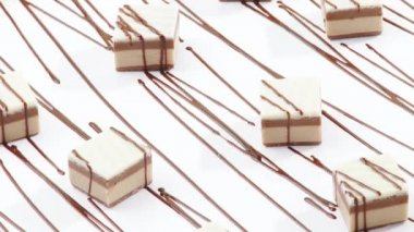 Sweets with chocolate drizzle — Stock Video