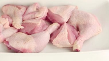 Chicken pieces being brushed with marinade — Stock Video