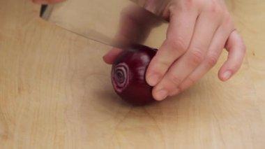 Красный лук сокращаются — Стоковое видео