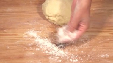 Work surface being dusted with flour — Stock Video