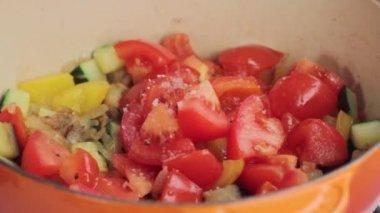 Vegetables being seasoned — Stock Video