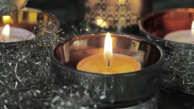 Tealight with Christmas decorations — Stock Video