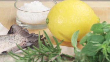 Ingredients for herb trout — Stock Video