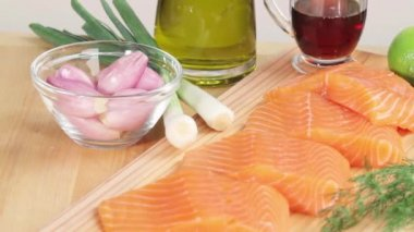 Salmon fillets and ingredients for marinade — Stock Video