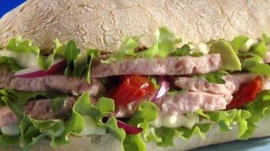 おいしいマグロのサンドイッチ — ストックビデオ