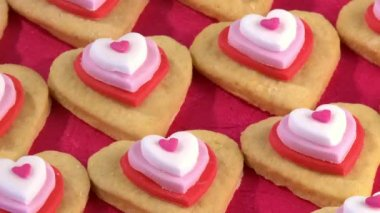 Heart-shaped biscuits close up — Stock Video