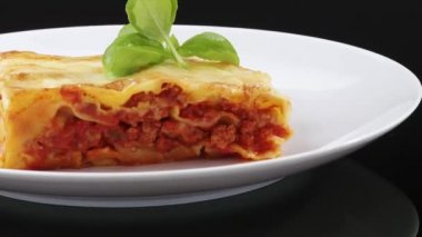 A portion of lasagne on a plate — Stock Video