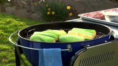 Corn on the cob on a barbecue — Stock Video