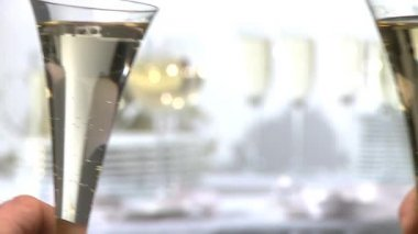 Toasting with champagne flutes — Stock Video
