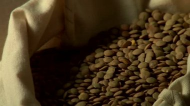 Lentils in a sack — Stock Video