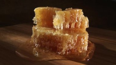 Pieces of honey comb with honey — Stock Video