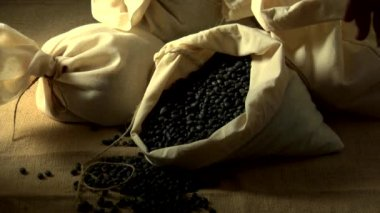 Hand picking up beans in a sack — Stock Video