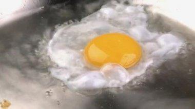 Frying an egg in a frying pan — Stock Video