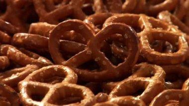 Lots of fresh pretzels — Stock Video
