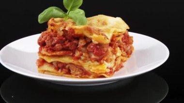 A portion of tasty lasagne — Stock Video