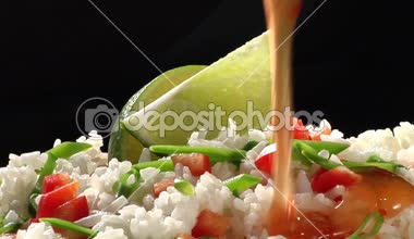 Rice with chilli sauce — Wideo stockowe