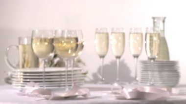 Glasses of white wine — Stock Video