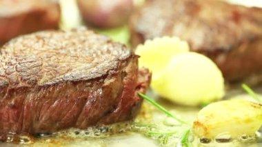 Beef fillet steak being fried — Stock Video