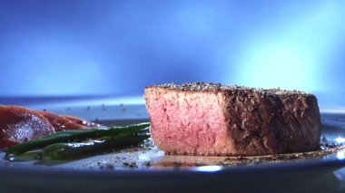 Fried beefsteak, showing a cut surface — Video Stock