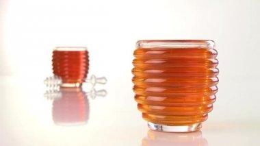 Honey with honey dipper — Stock Video