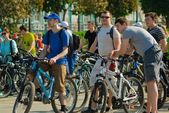 Cyclists during biking in Yekaterinburg — Stock Photo