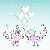 Two birds with hearts — Stock Vector