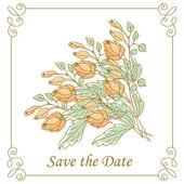 Wedding card with roses — Vetor de Stock
