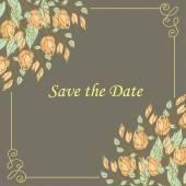 Invitación de boda con flores — Vector de stock