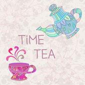 Tazza e tè su bianco — Vettoriale Stock