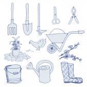 Naczynia dla ogrodnictwo ręcznie rysowane zestaw — Wektor stockowy