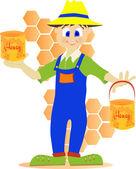 Garnek miodu pszczelarz wyświetlone — Wektor stockowy
