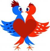 Two love birds create a heart. — Stock Vector
